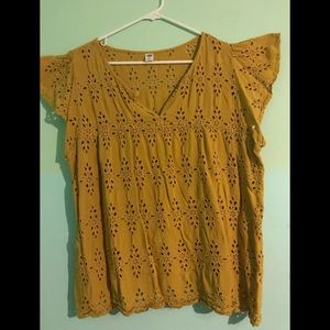 Golden Yellow Blouse with Cut Out Designs